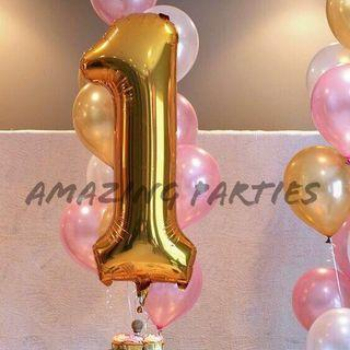 Giant 40 inch/ 1 m Shiny Gold Number Foil Party Decoration Balloon