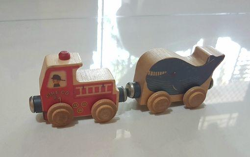 1 set wooden car Name trains Maple landmark
