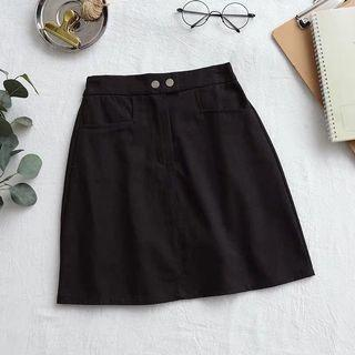 black double button a line skirt