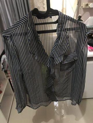 Kemeja transparant shirt stripe garis garis