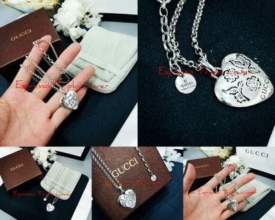 [G•Ü•C•C•!]Genuine S925 Sterling Silver Necklace with heart shaped pendant. [GCUN2G44] #JUNEPAYDAY60