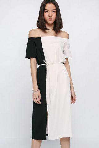 Love bonito Lunette Contrast color block Off Shoulder Dress in white & black