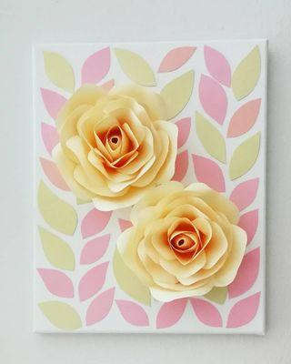 3D Paper Flowers Canvas Board Wall Decoration
