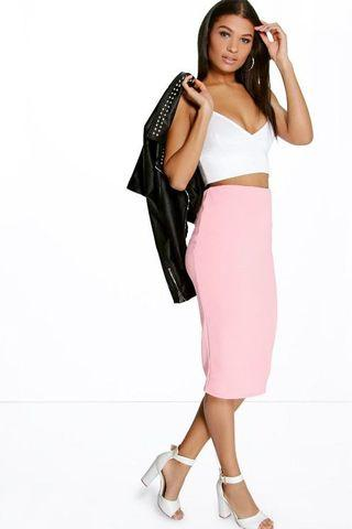 boohoo pink ribbed midi skirt