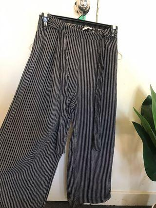 Blue and white striped culotte style pants
