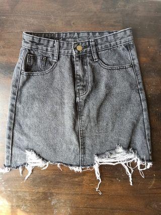 Gray Denim Skirt