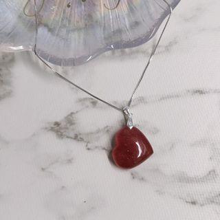 草莓晶心心吊咀連925純銀頸鍊