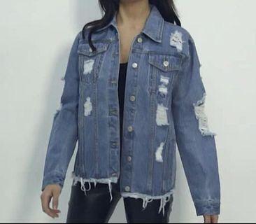 Mid Wash Distress Oversized Denim Jacket