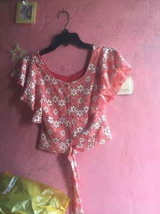Baju crop bunga