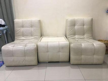 REDUCED!! White Leather Sofa