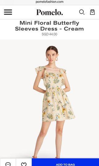 Pomelo Mini Florals Butterfly Sleeve Dress S