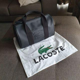 Authentic Lacoste Small Barrel Bag in black luxury branded leather bag