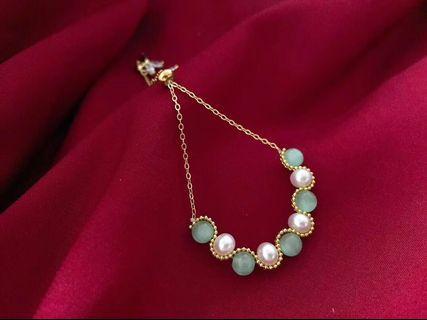 今日新款 14k注金材質貓眼石手鏈 100%天然珍珠!