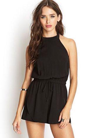 F21 Dressy Black Romper (Size S)