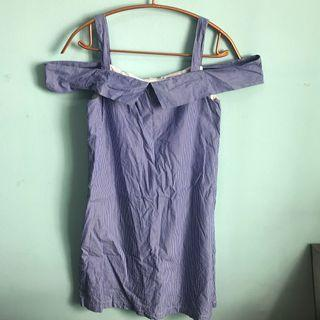 RWB Blue and White Striped Off Shoulder Dress
