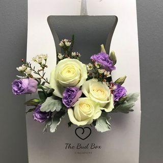 Cream rose and Eustoma Bloom Box