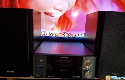 9成新Philips Micro Theatre MCD710 , DVD, usb, 機身無花功能正常,實木全包木皮喇叭靚聲好力,網面完整,無遙控