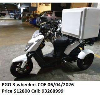 3 units of used PGO 3 wheelers $12800 to $13800 COE 2025 and 2026