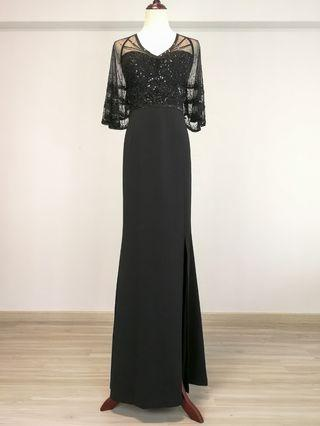 Adrianna Papell Sheer flutter beaded gown (Rental)