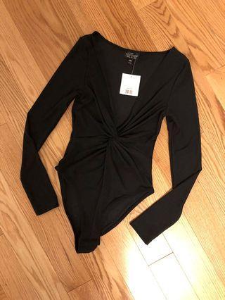 Topshop Petite Black Bodysuit (Size US 4)