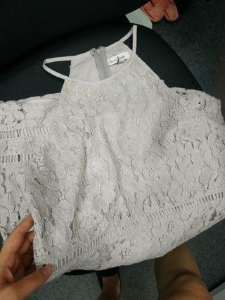 Grayish white lace sexy dinner dress