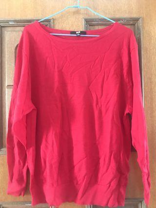(含運)Uniqlo寬鬆紅色薄羊毛衣