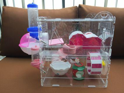 Acrylic Hamster Cage + FREE gifts