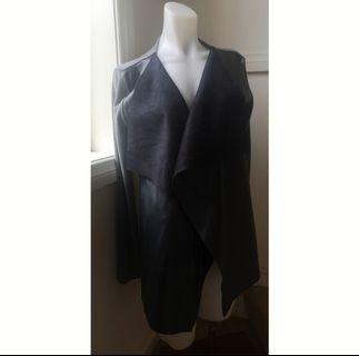 Size S: Grey and Black faux leather cardigan
