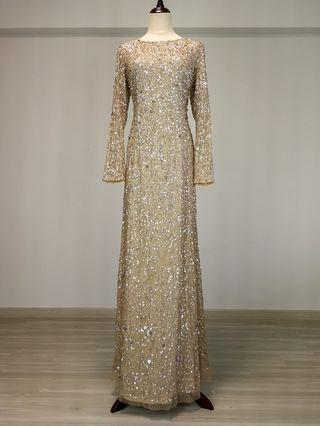 Adrianna Papell Long sleeve sequin beaded gown (Rental)