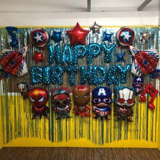 Marvel Superheroes Balloons and backdrop