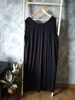 Plus Size Midi Black Dress With Cowl Back