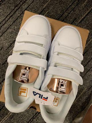 Authentic BN FILA COURT DELUXE BOLD SHINY GOLD