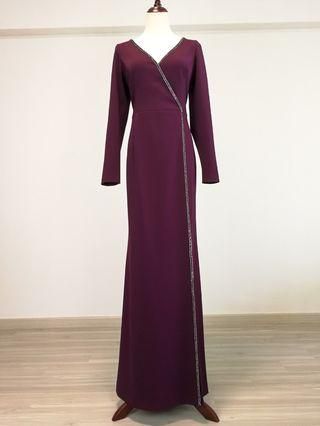 Adrianna Papell Long sleeve gown w/ Jeweled details (Rental)