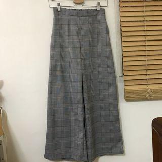 格紋寬褲 有口袋