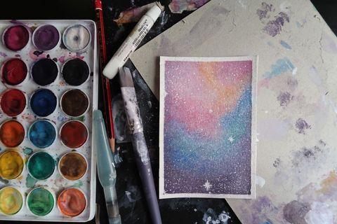 🚚 Galaxy watercolor card Customizable