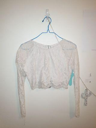 White Long Sleeved Crop Top size S/8