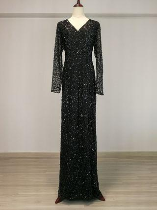 Adrianna Papell Sequin beaded Wrap gown (Rental)