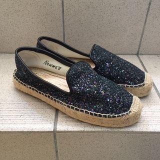 亮片草編鞋 平底鞋