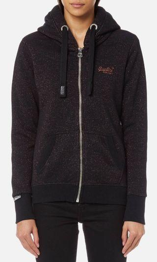 SUPERDRY WOMEN'S ORANGE LABEL GLITTER ZIP UP HOODIE-BLACK, SMALL