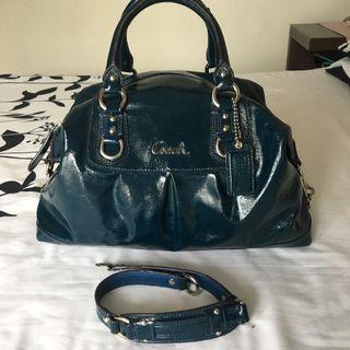 Coach blue leather bag