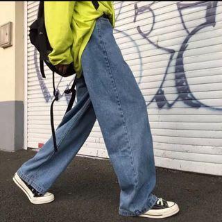 復古牛仔落地寬褲 寬褲 直筒褲