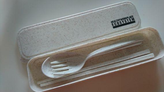 Reusable Straw Wheat Utensils Set, Beige