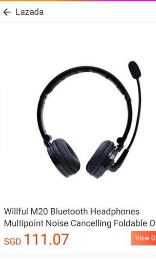 Bluetooth headphones wireless headphones microphone handsfree noise cancelling lightweight portable