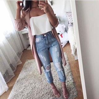 High waisted distressed mum jeans - light wash