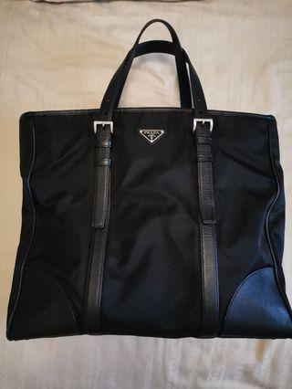 Prada Black Tessuto & Saffino Tote Bag