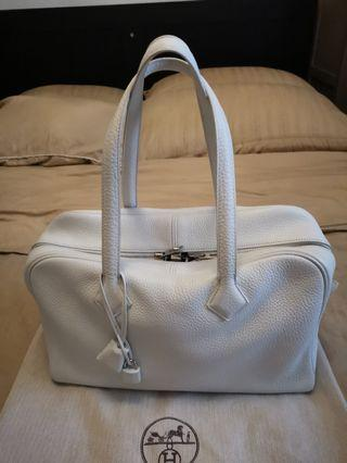 Hermes White Victoria 35 PHW