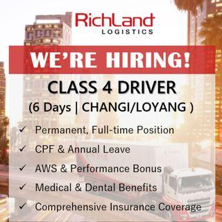 Class 4 Driver (6 Days | Changi | Loyang | AWS Bonus)