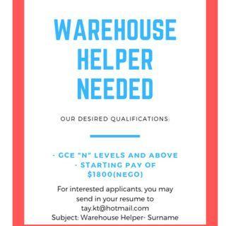 Warehouse Helper / 仓库管理员 Up to $2k ( Negotiable)