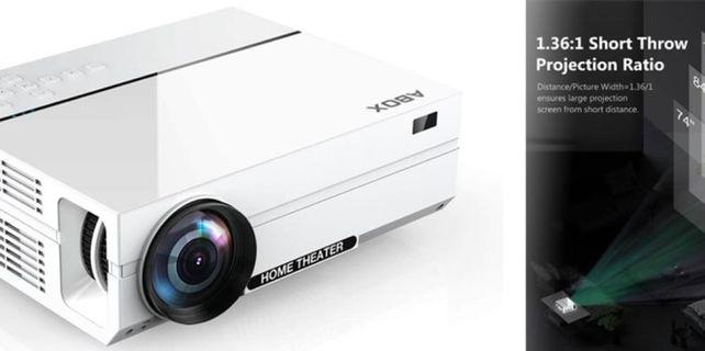 """ABOX A6 Portable Home Theater 1080p Video Projector, Up to 200"""" Image Display, Built-in HiFi Sound, 50,000 Hour Lamp Life"""