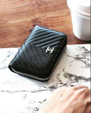 Chanel chevron coin card holder